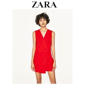 NWT Zara Red Romper with front flap & knot Detail
